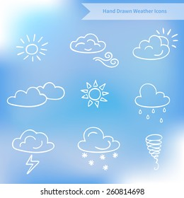 Hand drawn weather vector icons on blurred background. Perfect for design, for website design. Vector illustration.