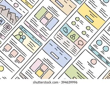 Hand drawn website layouts. doodle style design. Website layout doodle. Web page graphic template. UI kit sketch internet page. Portfolio webpage idea.Creative web design sketch.Wireframe page layout.