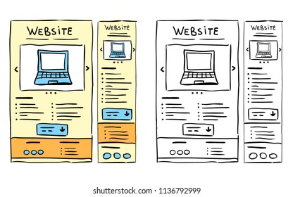 Hand drawn website layouts, responsive wireframe, doodle