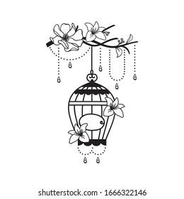 hand drawn wedding birdcage decoration