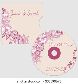 Hand drawn wedding cd disk template. Wedding disk with cover in doodle style. Wedding template.