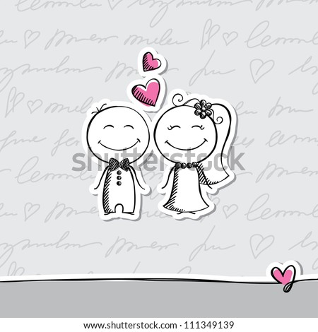 hand drawn wedding couple on gray background