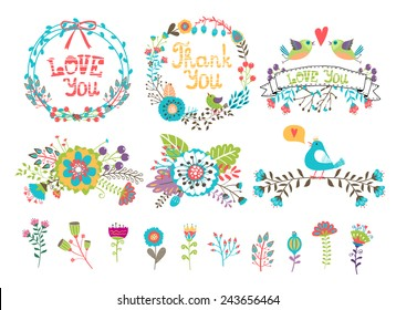 Hand drawn wedding graphic. Flowers and wreaths for invitations. Set of colored elements drawn from plants and flowers for decoration