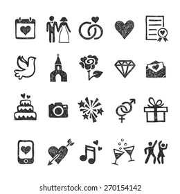 Hand drawn wedding icons and objects made in vector on white background