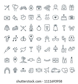 Hand drawn wedding icons set. Outline symbols wedding and celebration illustrations. Love, celebration, gifts symbols