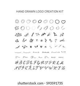 Hand drawn wedding logo creation kit. Floral frames, circles, alphabet.
