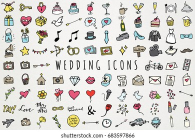 Hand Drawn Wedding & Marriage Icons Set - Full Color Sketched Illustrations Collection