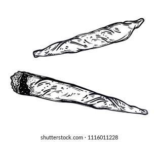 Hand drawn weed joint or spliff and cigarette. Drug consumption, medical marijuana. Vector isolated illustration.