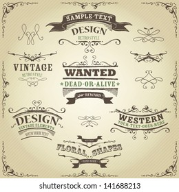 Hand Drawn Western Banners And Ribbons/ Illustration of a set of hand drawn western like sketched banners, ribbons, and far west design elements on vintage striped background