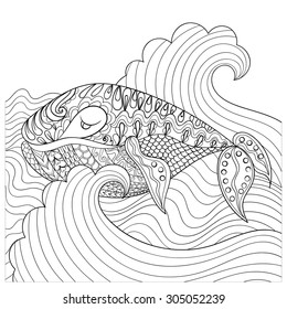 Hand drawn whale in the waves for anti stress Coloring Page with high details, isolated on white background, illustration in zentangle style. Vector monochrome sketch. Sea collection.