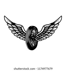 Hand drawn wheel with wings illustration isolated on white background. Design element for poster, card, banner, sign, emblem, t shirt. Vector illustration