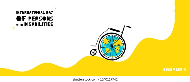 Hand drawn wheelchair with abstract Earth. International Day of Persons with Disabilities December 3 design concept. Vector illustration in flat style