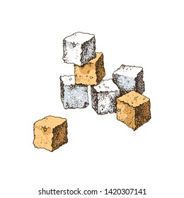 Hand drawn white and brown sugar cubes isolated on white background. Vector illustration