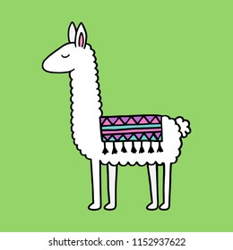 Hand drawn white llama with patterned fringed blanket. Cute furry llama animal vector illustration on green background.
