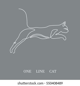Hand drawn white minimalism style vector illustration.One line cat design silhouette on gray background.