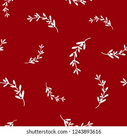 hand drawn white omela mistletoe on red background. seamless winter pattern. Christmas vector ornament. holiday ilex. Perfect for printing on fabric or paper.