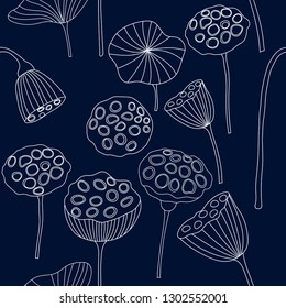 hand drawn white outline lotus seed pod seamless pattern on dark navy background