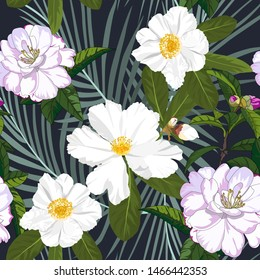 hand drawn white and pink camellia with palm leaf seamless pattern on dark navy background