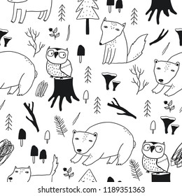Hand drawn wild forest. Wild forest seamless pattern with bear, fox, wolf, owl, trees, mushrooms, leaves, plants, branches