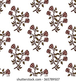 Hand drawn wild rose seamless pattern. Textile and wallpaper design template. Seamless background for different surfaces design.