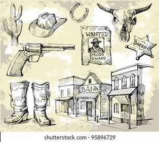 hand drawn wild west set