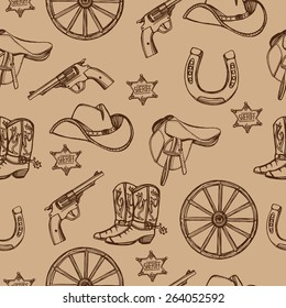Hand drawn Wild West western seamless pattern. Cowboy hat, cowboy boots, gun, sheriff star, horseshoe. Brown background
