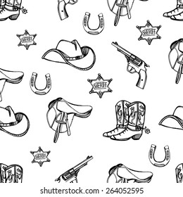 Hand drawn Wild West western seamless pattern. Cowboy hat, cowboy boots, gun, sheriff star, horseshoe. White background.