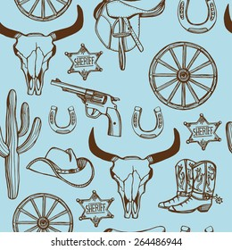 Hand drawn Wild West western seamless pattern. Cowboy hat, cowboy boots, gun, sheriff star, horseshoe, cactus, cow skull. Blue background