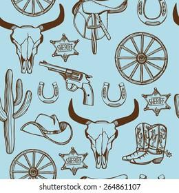 Hand drawn Wild West western seamless pattern. Cowboy hat, cowboy boots, gun, sheriff star, horseshoe, cactus, cow skull.