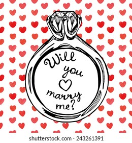 hand drawn will you marry me ring watercolor hearts background