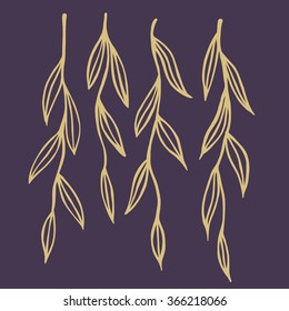 Hand drawn willow twigs. Doodle floral design element. Handmade tree branch with leaves. Isolated vector illustration