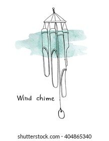 Hand drawn wind chime. Sketch on turquoise watercolor stain.