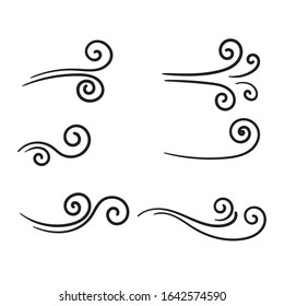 hand drawn wind doodle blow, gust design isolated on white background