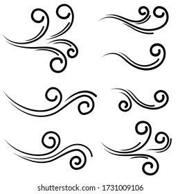 hand drawn wind gust isolated on a white background. Doodle vector illustration.