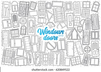 Hand drawn Windows and doors doodle set background with blue lettering in vector