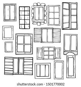 Hand drawn windows.  Vector sketch  illustration.