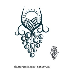 Hand drawn wine logo template. Vintage style wine badges and labels.  Vector illustration isolated on white background.