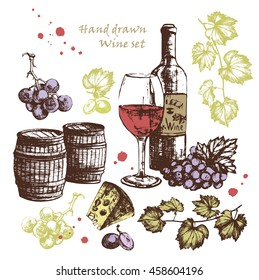 Hand Drawn wine set. Vector illustration with bottle,wine glass,grapes,cheese and wine barrel. Wine card,wine background, wine illustration.
