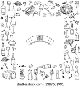 Hand drawn wine tasting icons set Vector illustration Sketchy elements collection Cartoon symbols: Grape. Glass Cheese Cork Barrel. Sparkling. Boose