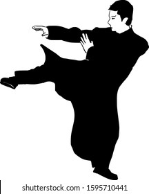 hand drawn Wing Chun kung fu illustration. One people with kicking fighting skills - Vector