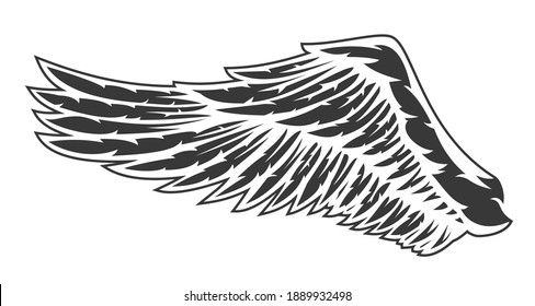 Hand drawn wing with feathers isolated on white background. Cartoon design element for tattoo, label, branding. Vintage vector illustration.