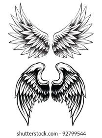 Hand drawn wing set
