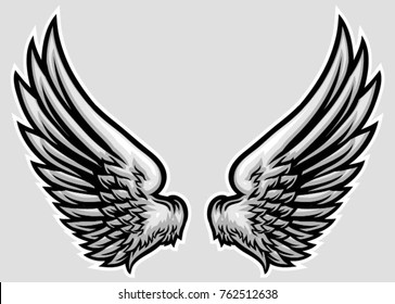 hand drawn wing vector illustration