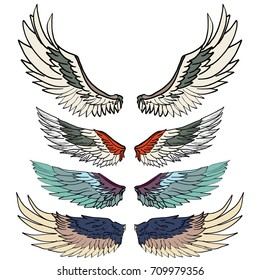 Hand drawn wing vector set.colorful Sticker wing tattoo.Doodle and sketch style tattoo.