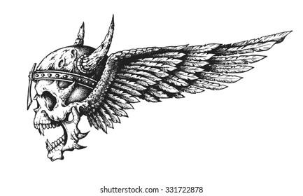 Hand drawn winged skull in horned helmet. Vector illustration