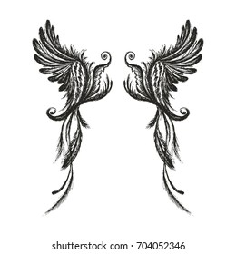 Hand drawn wings,isolated on white background,vector illustration