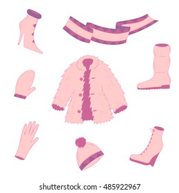 Hand Drawn Winter Clothes. Pink shoes on high heel, scarf, mitten, glove and fur coat. Vector illustration.
