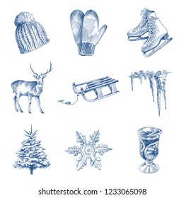 Hand Drawn Winter holiday Sketches Set. Collection Of Deer, skates, mulled wine, tree, knitting hat, Icicles, Snowman, Sled, Mittens. Winter elements Sketches isolated on white background.