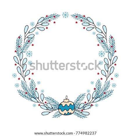 hand drawn winter holiday wreath template stock vector royalty free