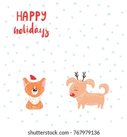 Hand drawn winter holidays greeting card with cute funny cartoon dogs, typography. Isolated objects on white background. Vector illustration. Design concept for children, Christmas, New Year.